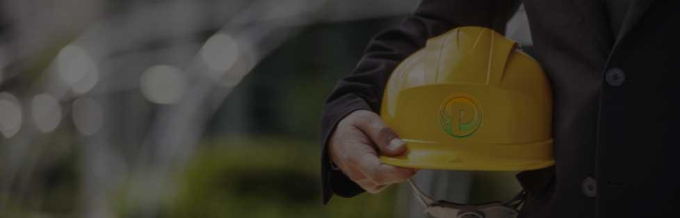 steel worker holding safety hat