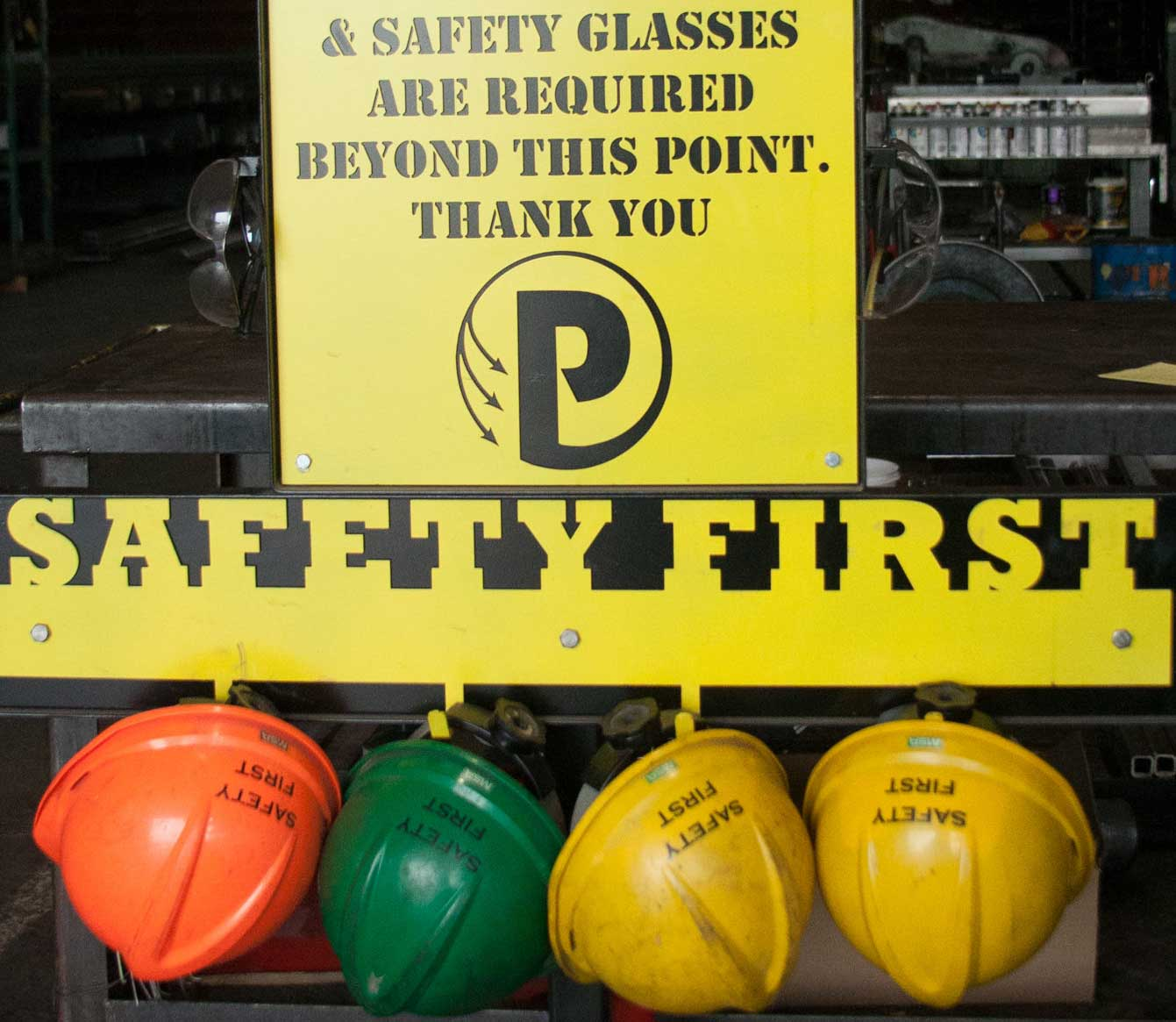 safety glasses and hard hat required at pacific steel