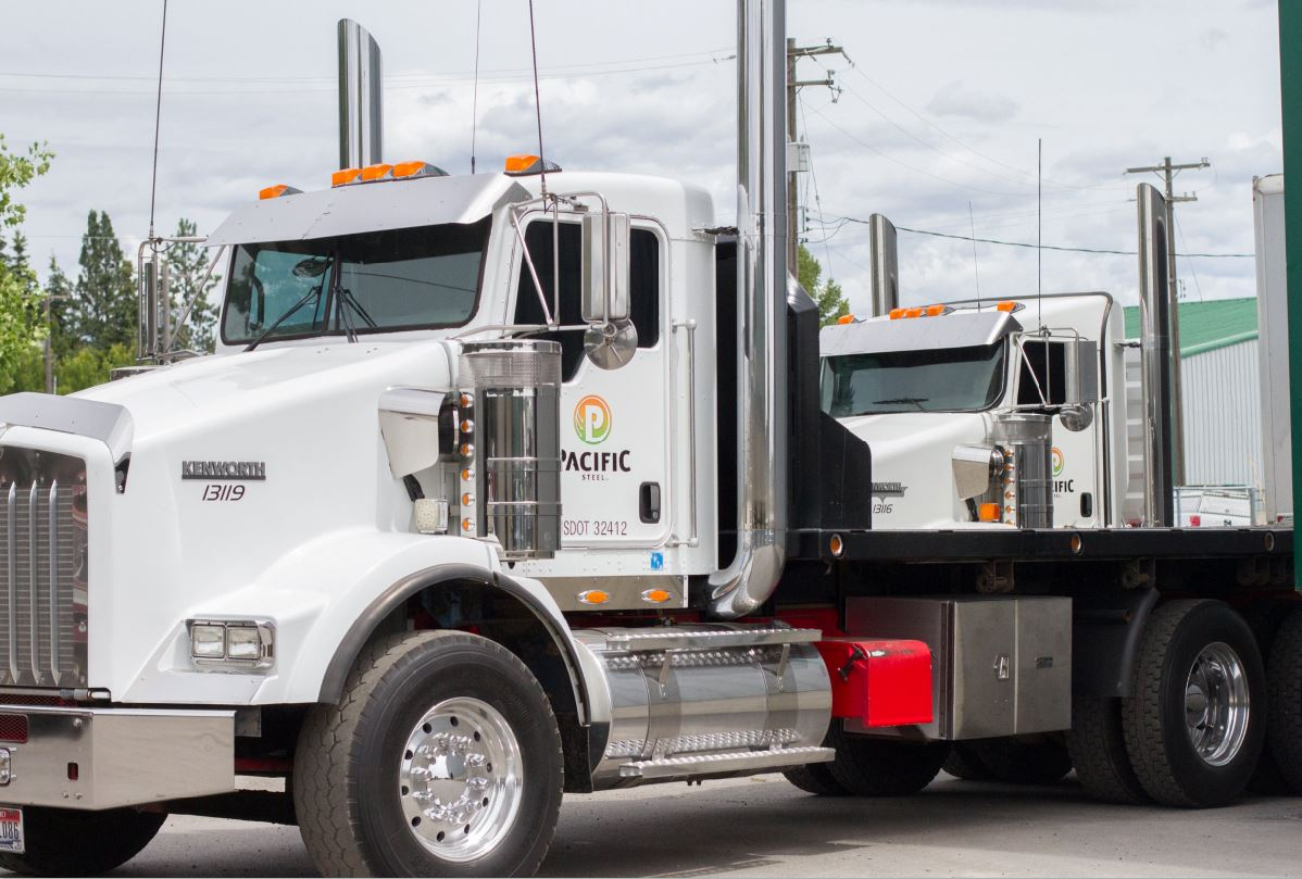 semi trucks of pacific steel and recycling company