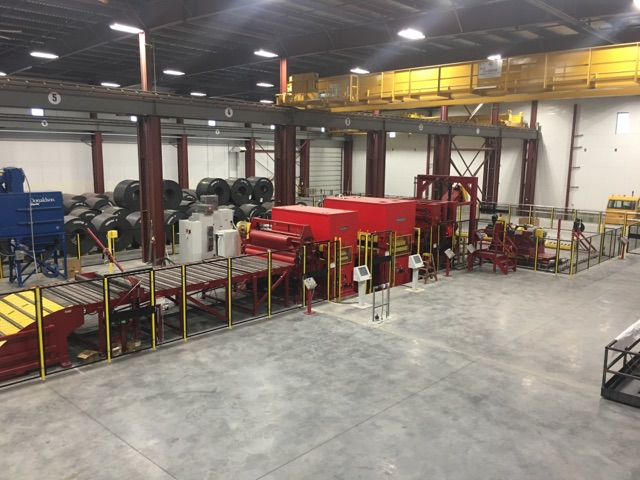 steel coil warehouse with cutting machinery