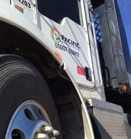 pacific steel recycling truck brand up close