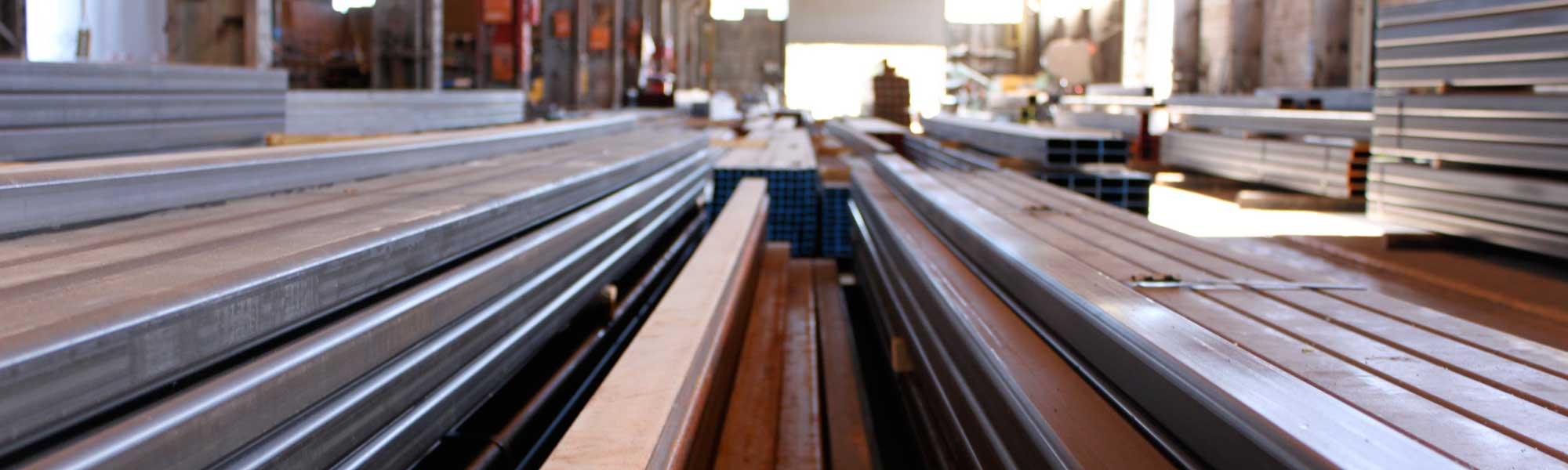 steel tubes in a metal warehouse