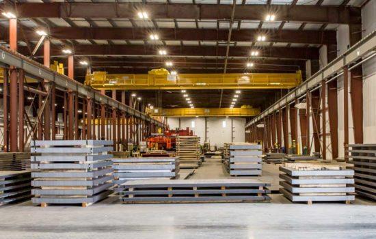 flat steel in a warehouse