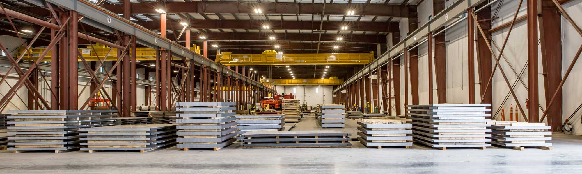 flat steel in a warehouse