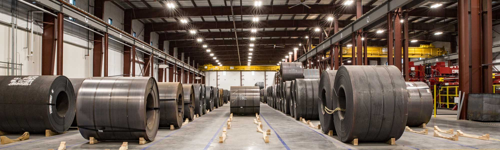 steel coils in warehouse