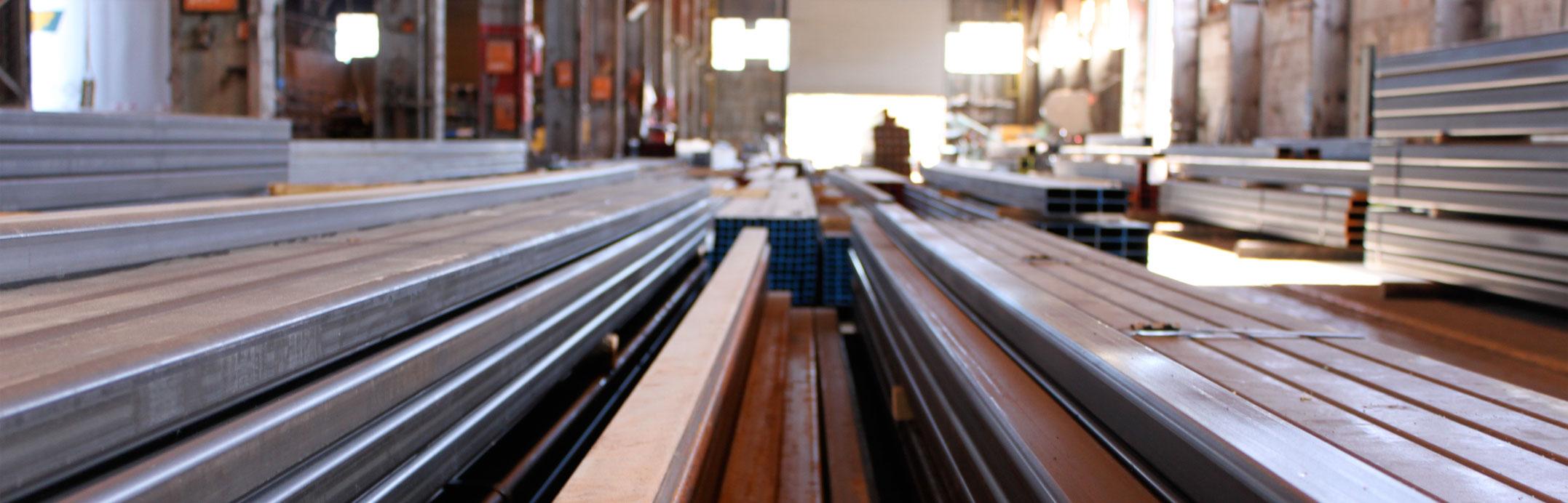 heavy duty steel tubing in metal warehouse