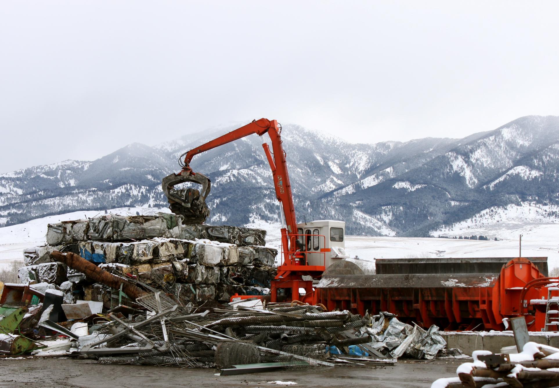 car recycling area in recycling scrap yard