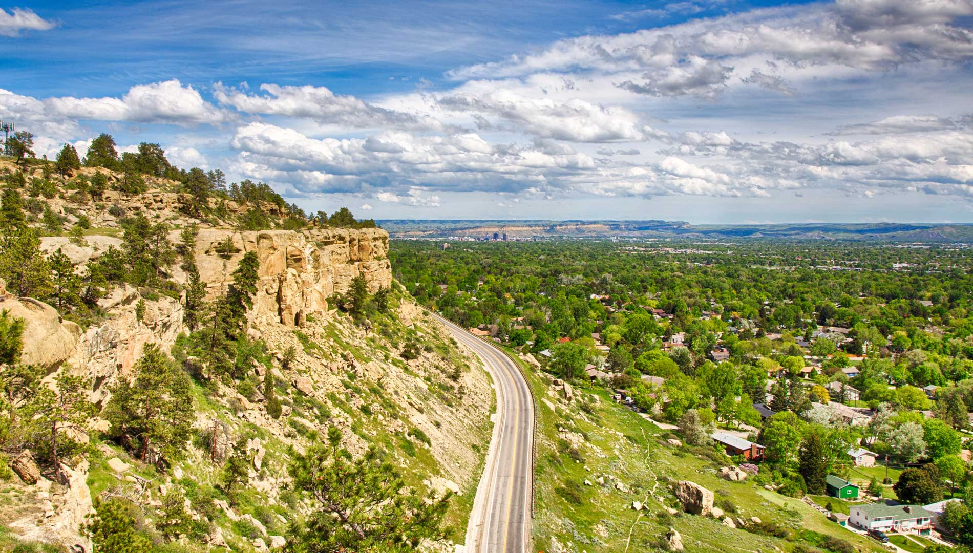 Road to recycling plant in Billings, Montana