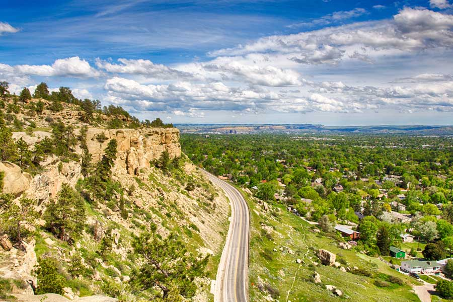 Road in the town of Billings, Montana