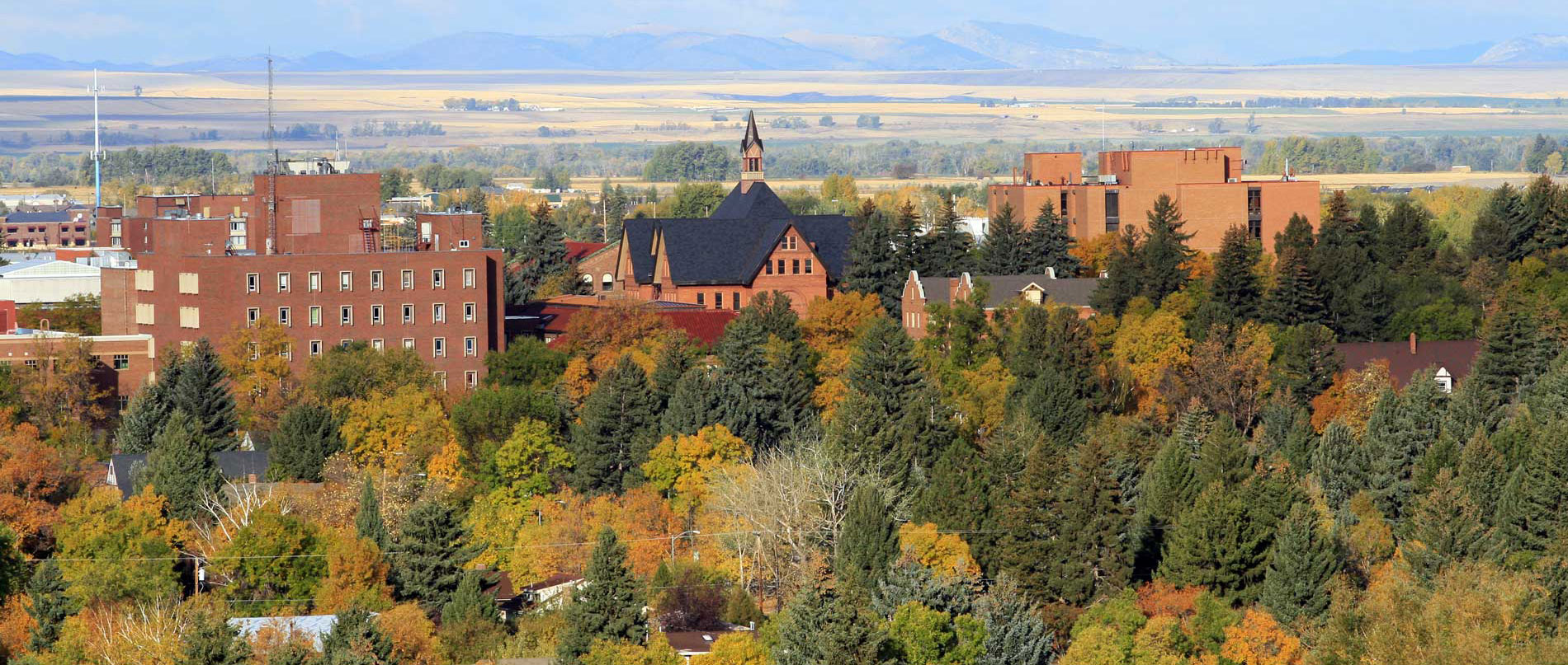 arial view of bozeman montana state university campus