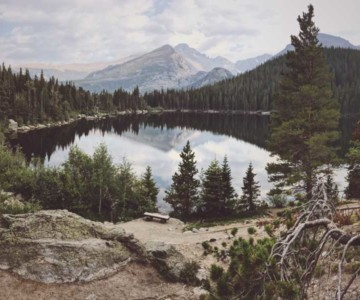 Lake with forest surrounding it in Colorado
