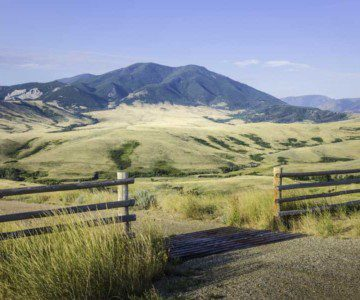 Gate to road in rural Montana