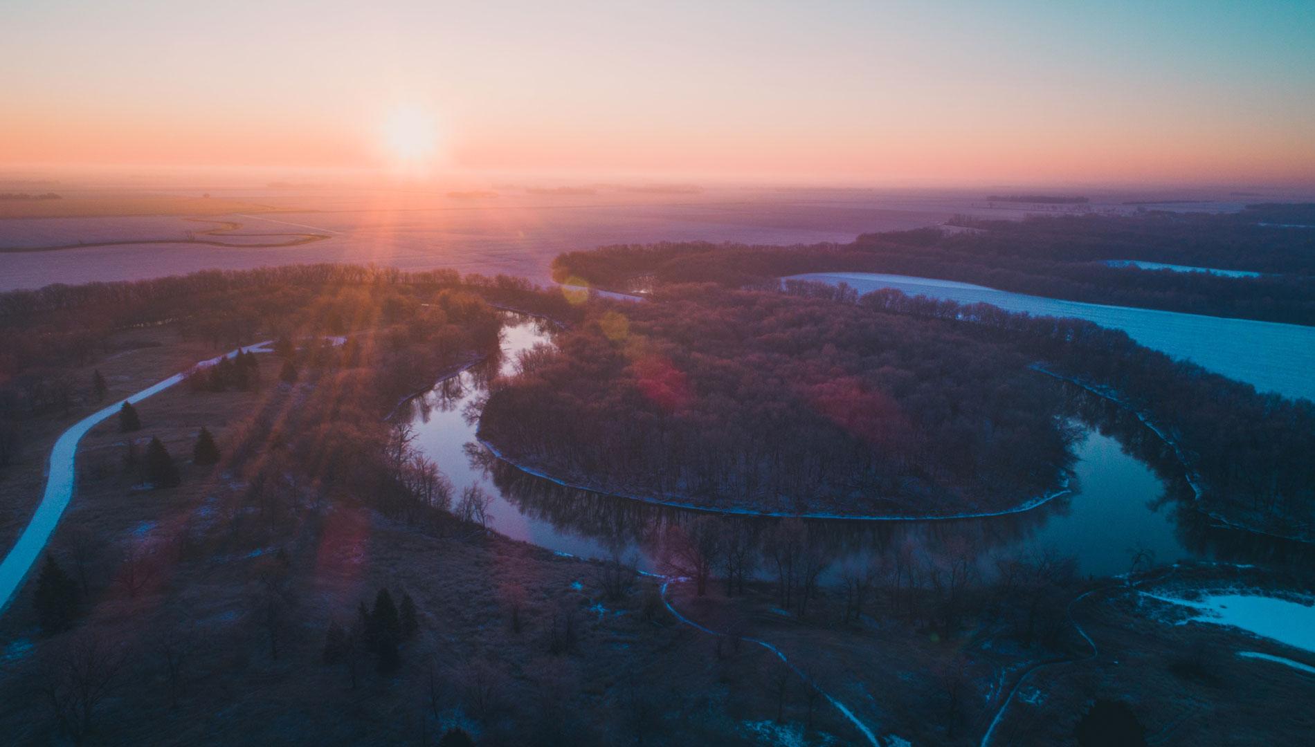 Sunrise over river in North Dakota