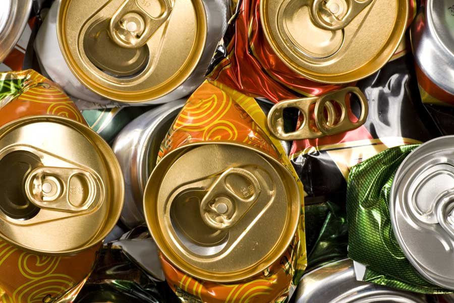 closeup of crushed cans for recycling