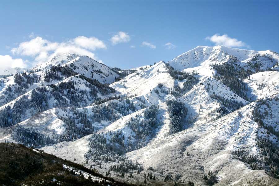Mountain range in winter in Utah