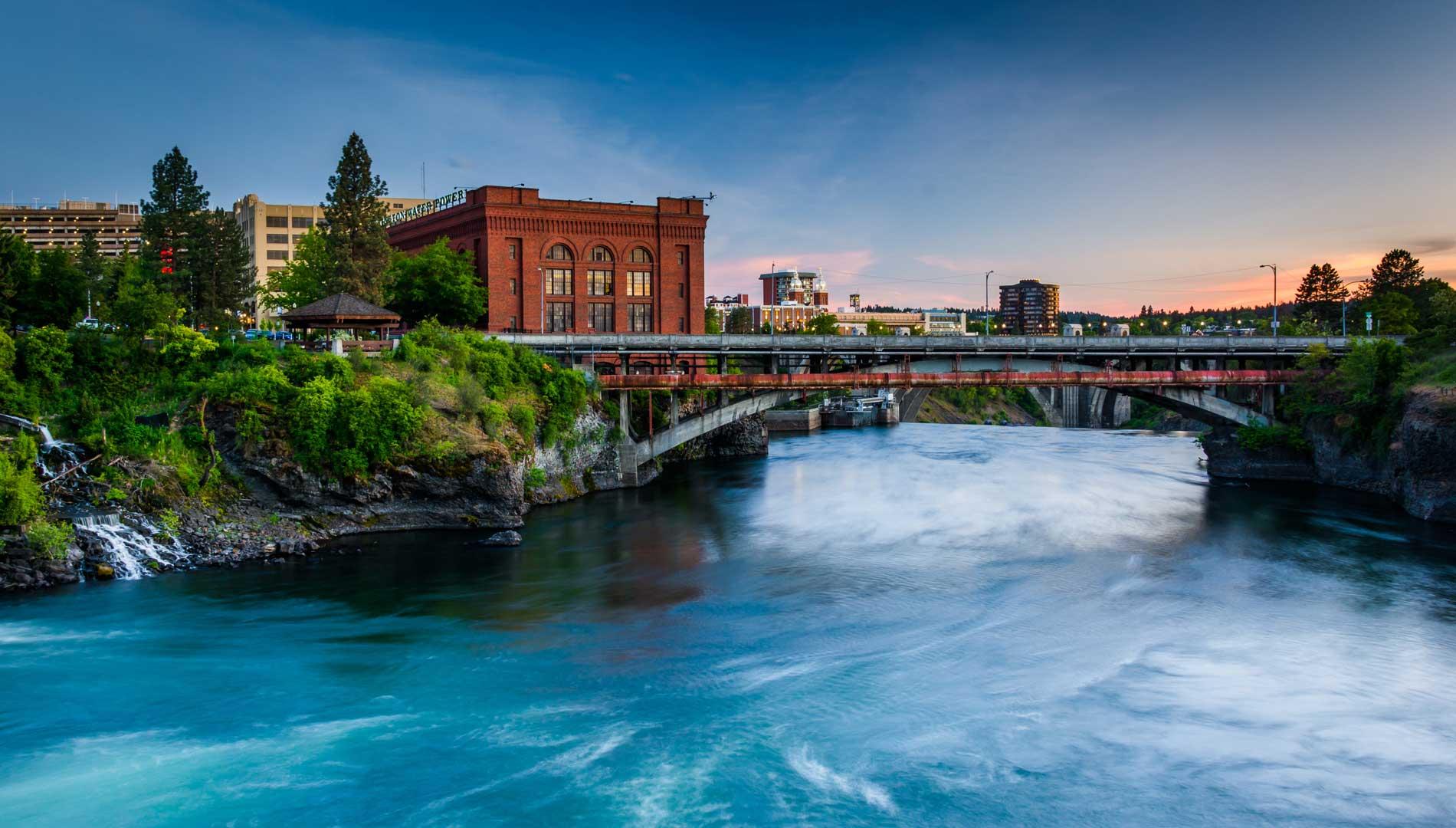 river with bridge Spokane Washington